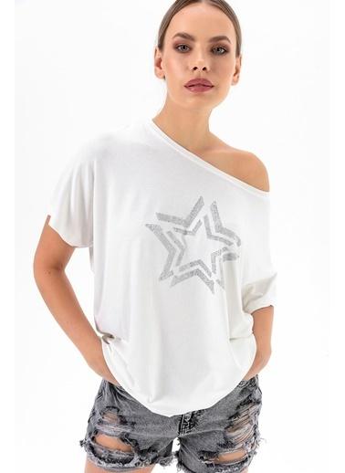 Emjey Yansıma Yıldızlı Bluz Beyaz